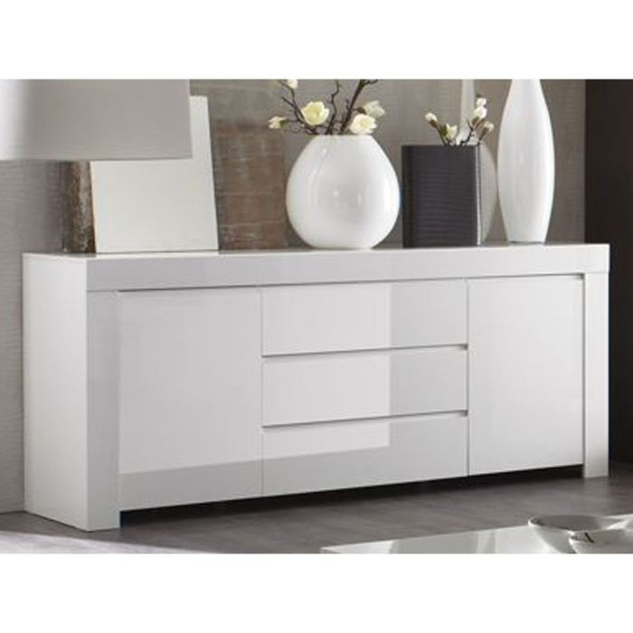 Buffet bas laque blanc fly for Buffet de salon pas cher