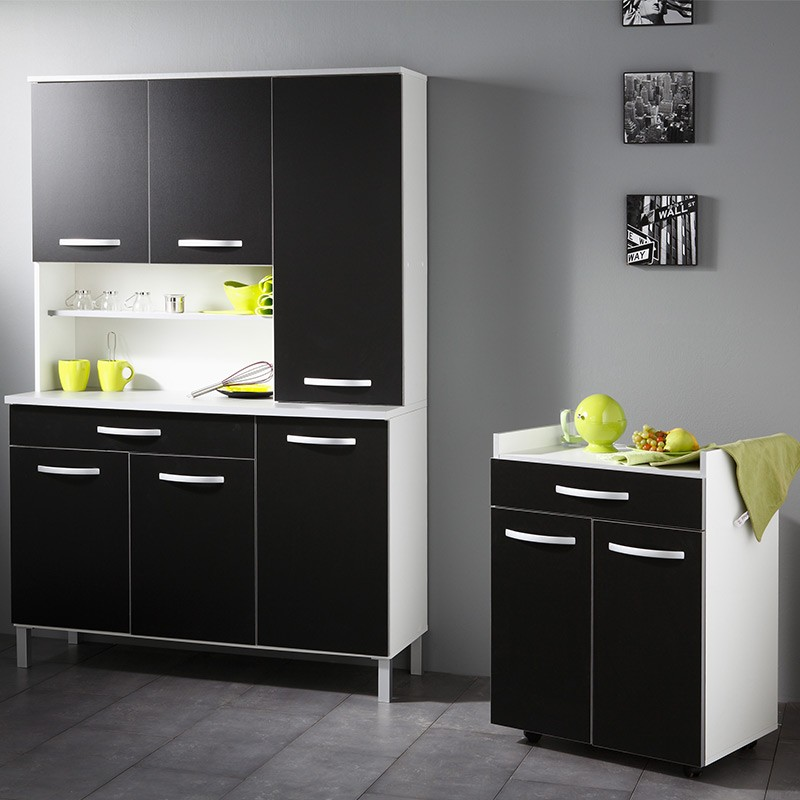 buffet de cuisine noir et blanc. Black Bedroom Furniture Sets. Home Design Ideas