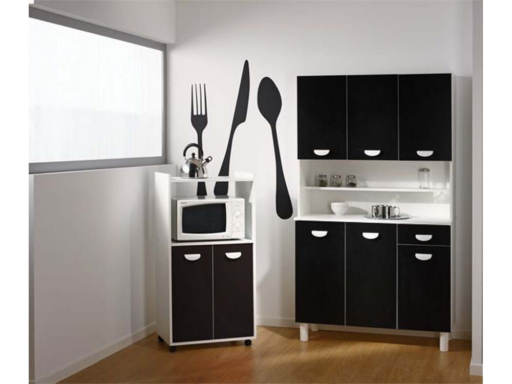 meuble de cuisine noir et blanc maison design. Black Bedroom Furniture Sets. Home Design Ideas