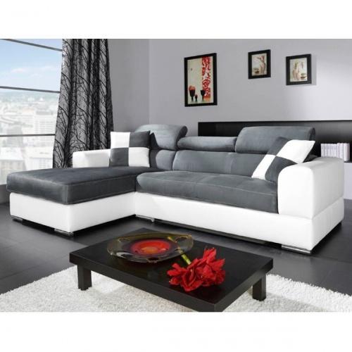 canape d 39 angle blanc et gris. Black Bedroom Furniture Sets. Home Design Ideas