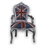Chaise contemporaine bois massif et marqueterie Union Jack : Meubles et