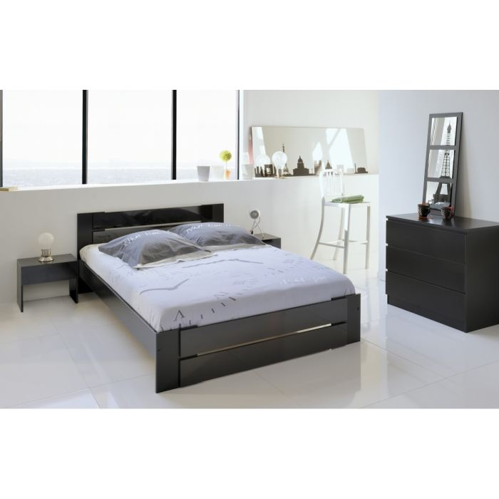 lit 1 personne noir laque. Black Bedroom Furniture Sets. Home Design Ideas