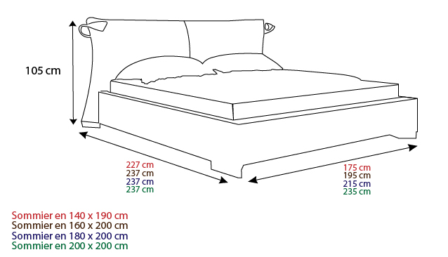 Taille standard d un lit meuble de salon contemporain - Lit queen size dimension ...