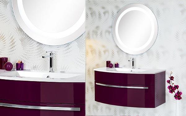 Meuble bas de salle de bain aubergine - Salle de bain couleur aubergine ...