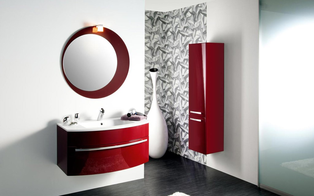 Meuble bas de salle de bain aubergine - Salle de bain aubergine et blanc ...