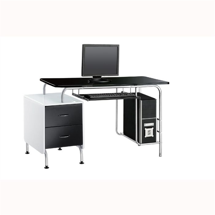 Meuble de bureau noir laque for Meuble bas de bureau