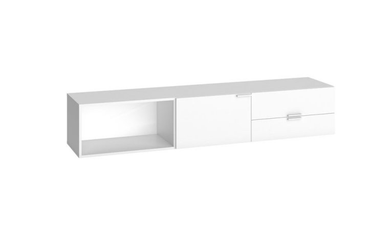 Meuble tv bas blanc pas cher for Meuble bas tv led