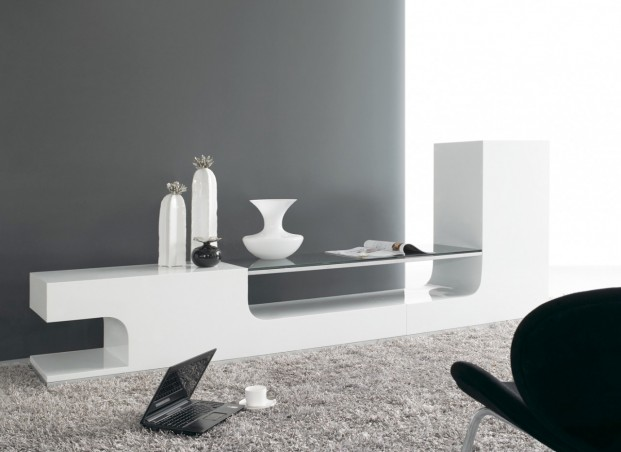 Meuble tv bas design discount for Meuble tv blanc bas