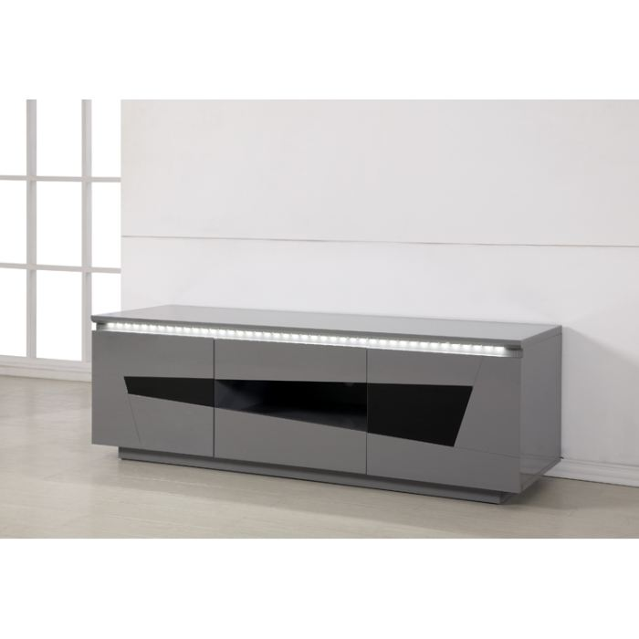 Meuble tv bas laque gris for Meuble tv 110 cm gris
