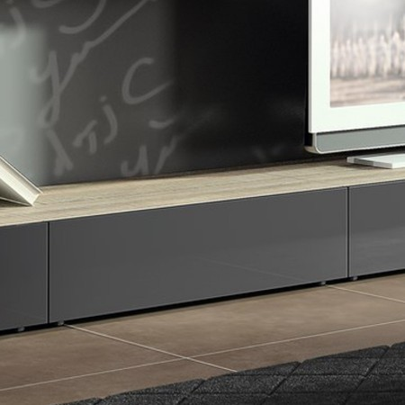 Mobilier table meuble bas gris - Meuble tv gris laque ikea ...