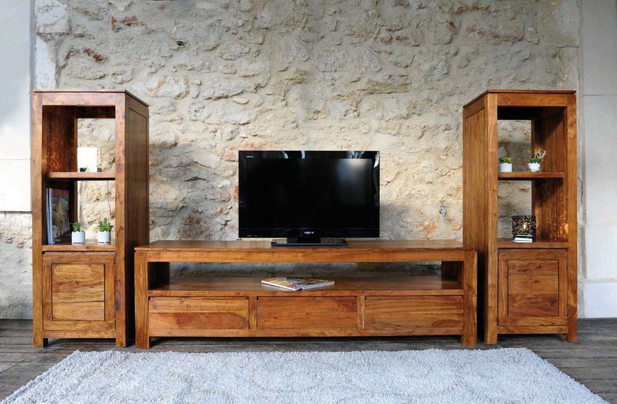 Meuble tv haut en bois for Meuble tv haut bois