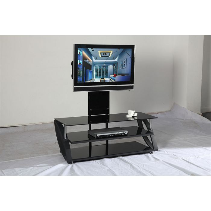 Meuble tv haut en verre for Table de television en verre