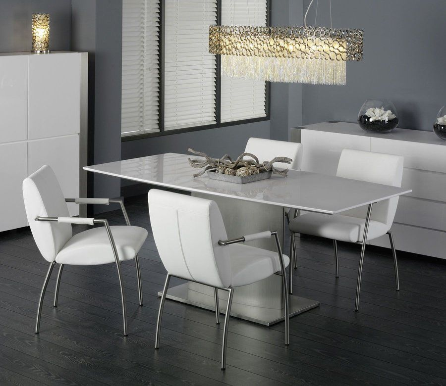 table a manger blanc laque. Black Bedroom Furniture Sets. Home Design Ideas