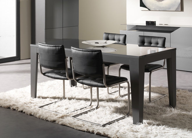 table a manger laquee grise. Black Bedroom Furniture Sets. Home Design Ideas