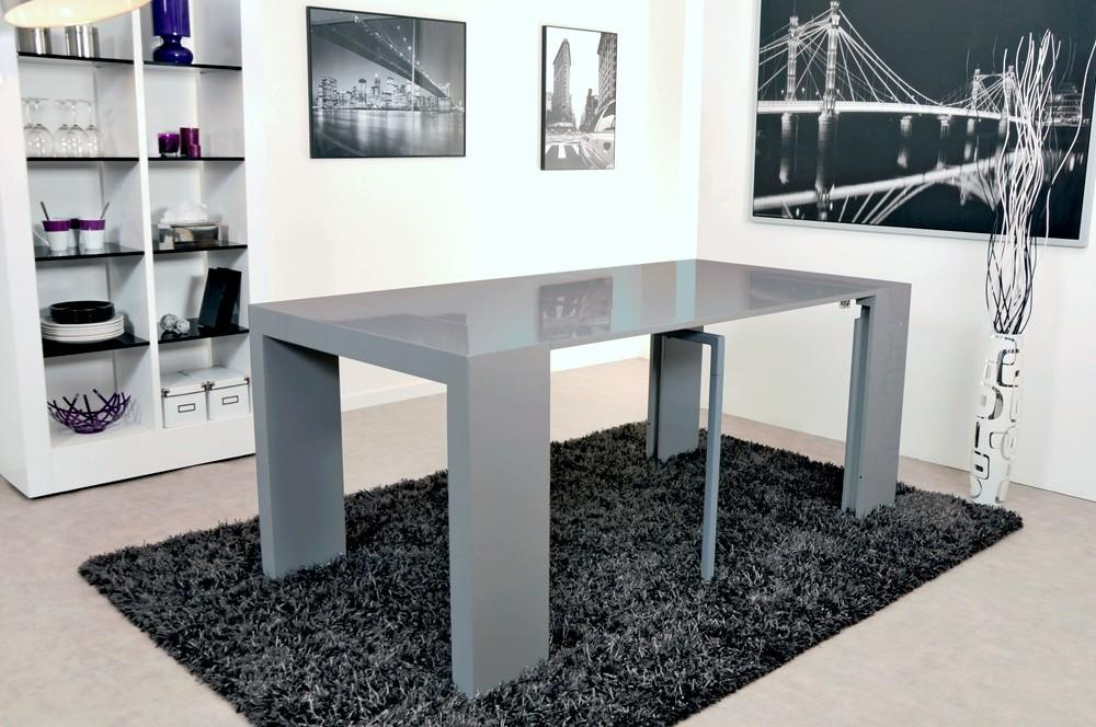 Table salle manger gris laqu for Table de salle a manger grise