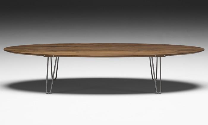 Table basse de salon en bois ovale for Table basse ronde ou ovale