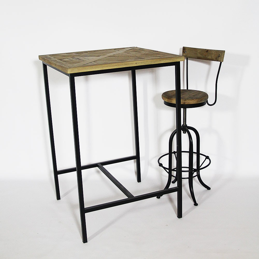 table de bar bois et metal. Black Bedroom Furniture Sets. Home Design Ideas