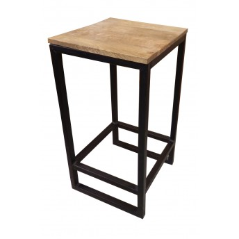 Table de bar bois et metal - Tabouret de bar en bois brut ...