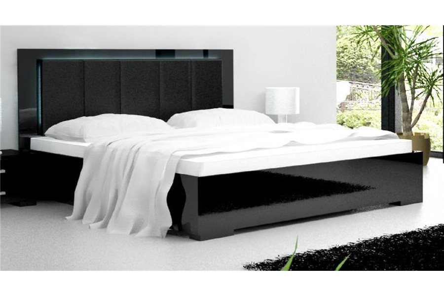 lit adulte noir laqu. Black Bedroom Furniture Sets. Home Design Ideas