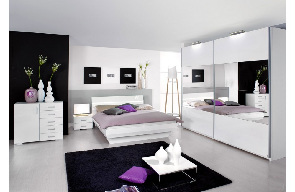 chambre blanc laqu design. Black Bedroom Furniture Sets. Home Design Ideas