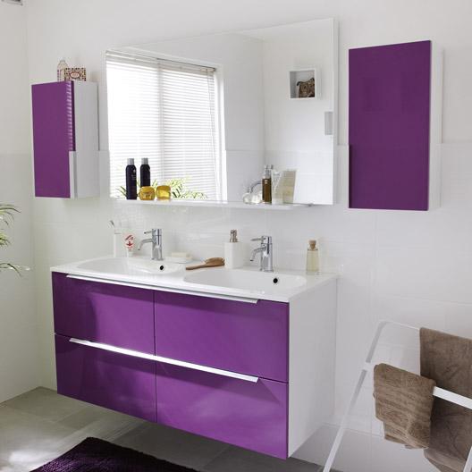 Armoire salle de bain violet for Carrelage mauve salle bain