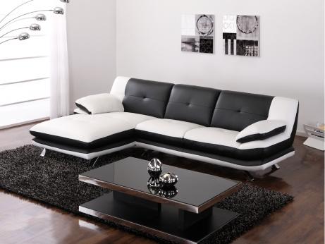 Canape d 39 angle noir et blanc pas cher - Canape terrasse pas cher ...