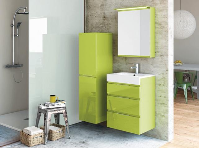 modèle meuble salle de bain jaune