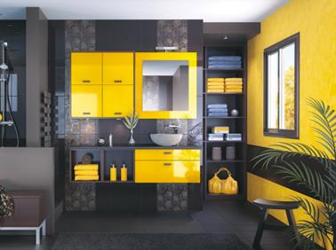 Cuisine Noir Et Jaune Perfect Cuisine Avec Mur Rose Couleur - Cuisine noir et jaune