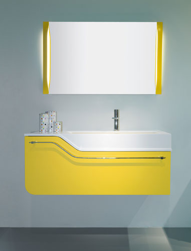 Meuble salle de bain jaune for Salle de bain jaune