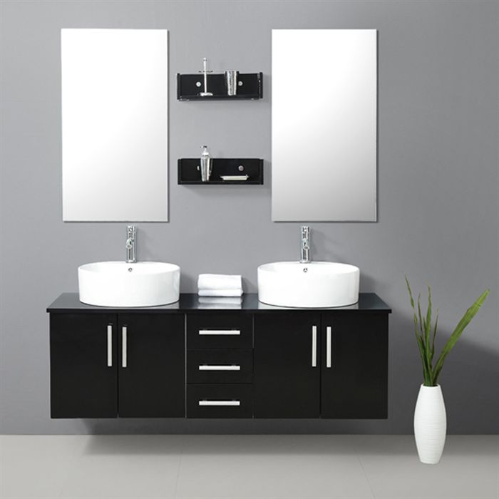 meuble salle de bain noir. Black Bedroom Furniture Sets. Home Design Ideas