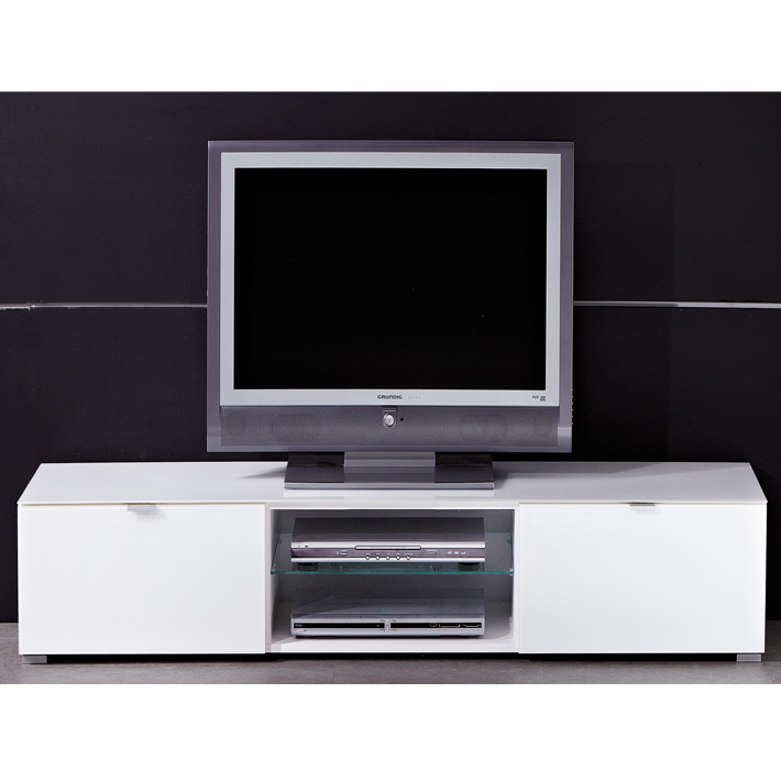 Meuble tv bas design blanc for Meuble bas tv blanc