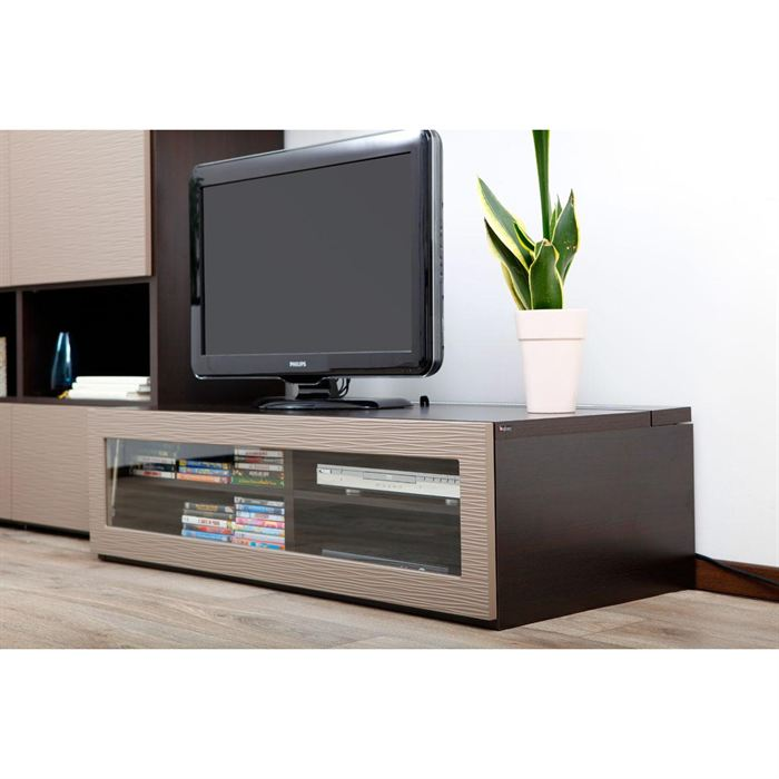 Meuble tv bas taupe for Meuble de tele design