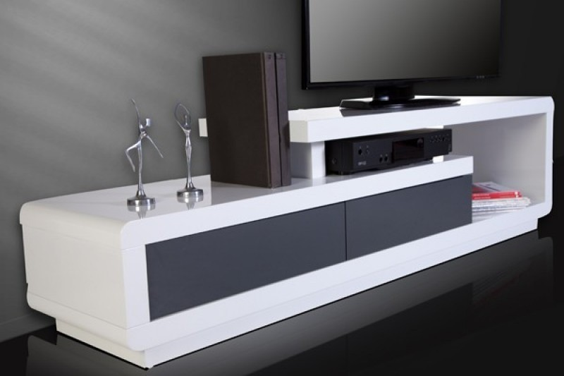 meuble tv blanc et gris laque. Black Bedroom Furniture Sets. Home Design Ideas
