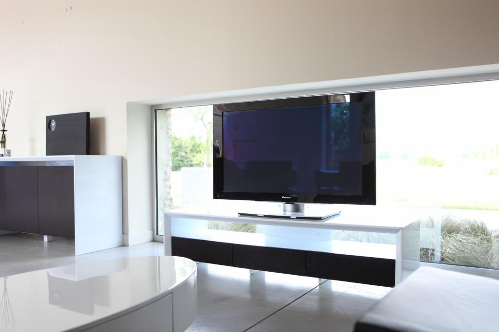 meuble tv haut de gamme blanc -> Meuble Tv Blanc Haut