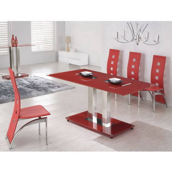 Table a manger rouge for Petite table de salle a manger
