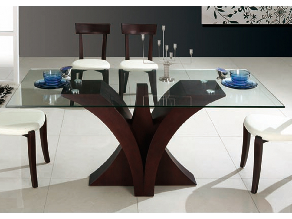 Table a manger wenge et verre for Table salle a manger wenge