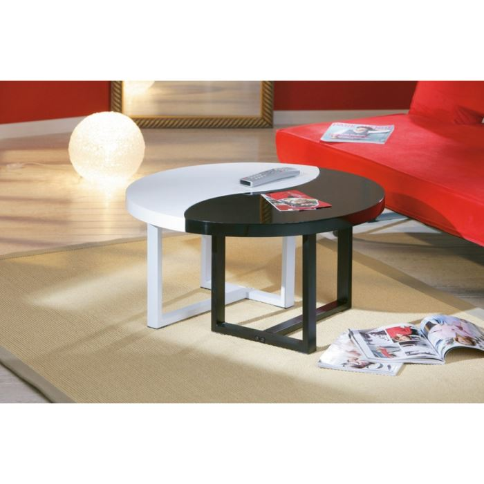 Table basse ying yang bois for Meuble ying yang