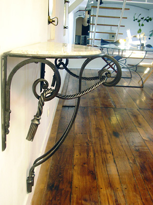 Table console fer forge for Console murale fer forge