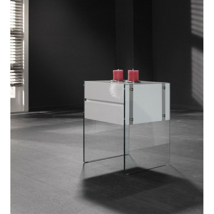 Table de chevet design en verre - Table de chevet design ...
