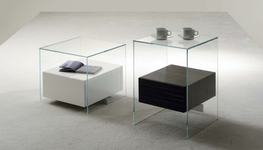 Table de chevet design en verre - Table de chevet contemporaine design ...