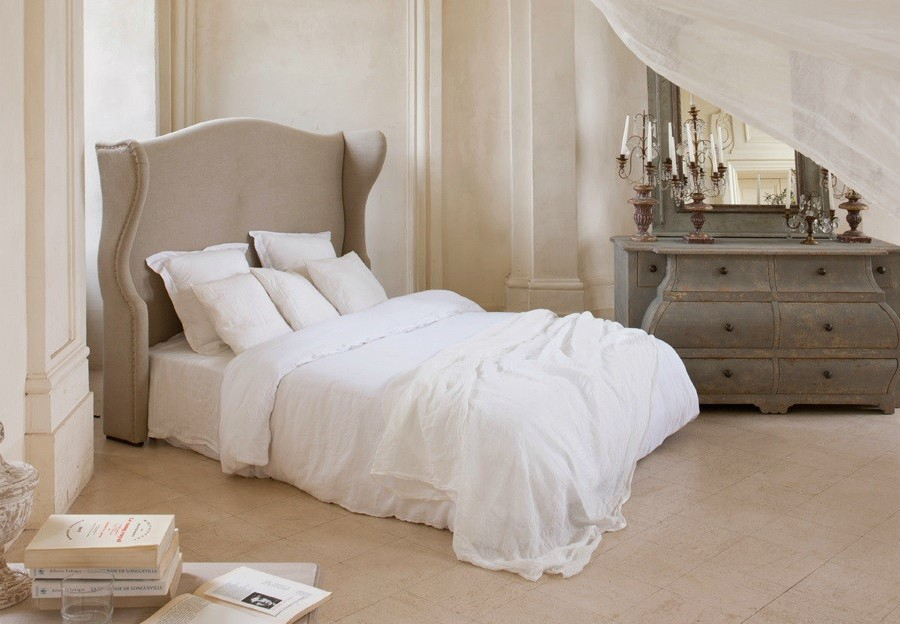 tete de lit blanc romantique. Black Bedroom Furniture Sets. Home Design Ideas