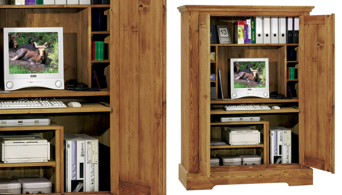 Armoire de bureau en pin for Bureau armoire informatique