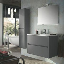 Armoire salle de bain gris laque for Organisation salle de bain