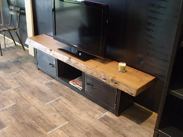 buffet bas bois et metal. Black Bedroom Furniture Sets. Home Design Ideas