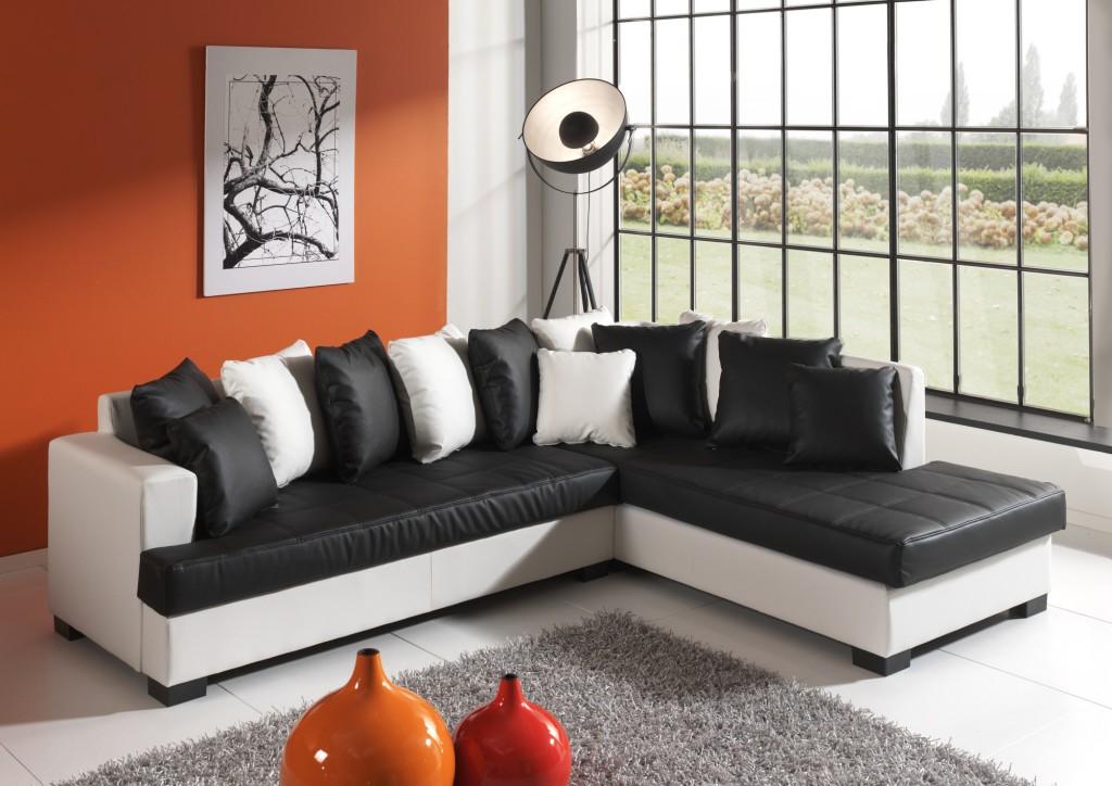 magasin d'usine 0ed31 73101 exemple canape d'angle noir et blanc but