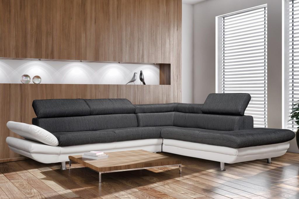 meilleur service 3b16c 10588 trouver canape d'angle noir et blanc but