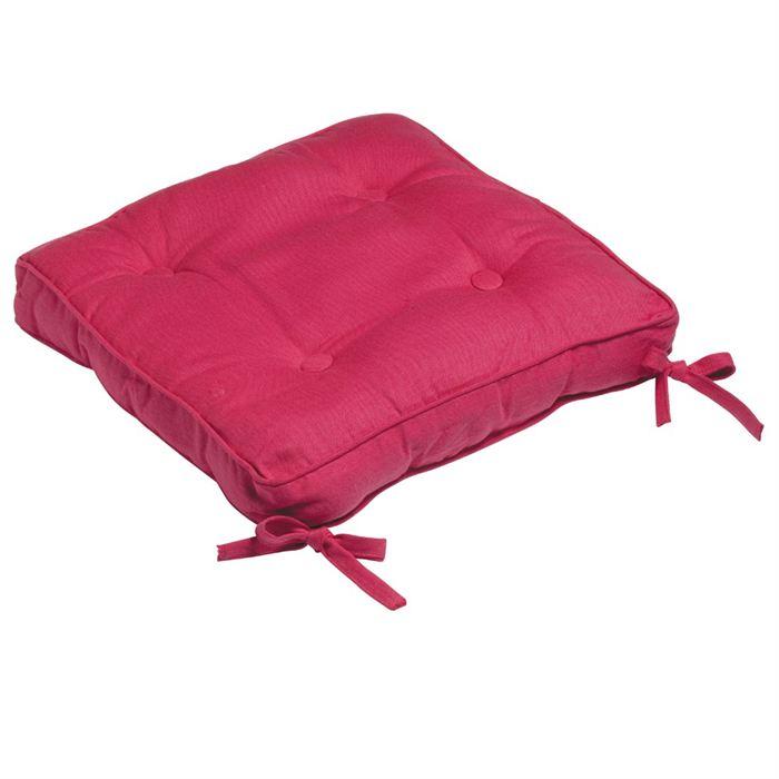 Galette de chaise fushia for Galette de chaise 45x45