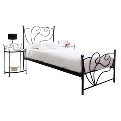 lit 1 personne fer noir. Black Bedroom Furniture Sets. Home Design Ideas