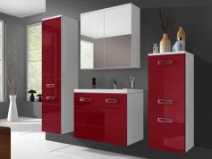 meuble haut salle de bain rouge