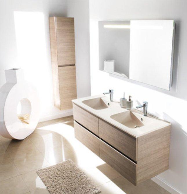 Meuble salle de bain neo for Meuble de salle de bain blanc et bois
